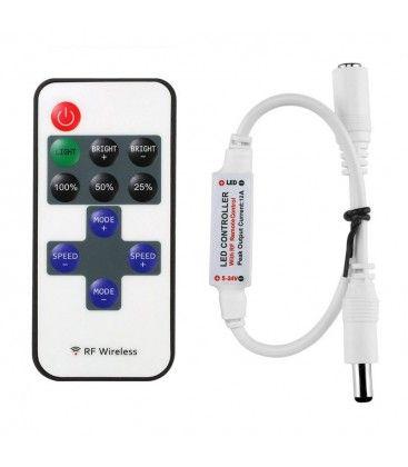 Trådlös dimmer med fjärrkontroll - RF trådlös, minnesfunktion, 12V (30W)