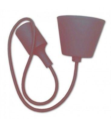 V-Tac silikone pendellampa med tygledning- Brun, E27