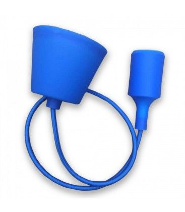 V-Tac silikone pendellampa med tygledning - Blå, E27