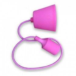 LED takpendel V-Tac silikone pendellampa med tygledning - Pink, E27
