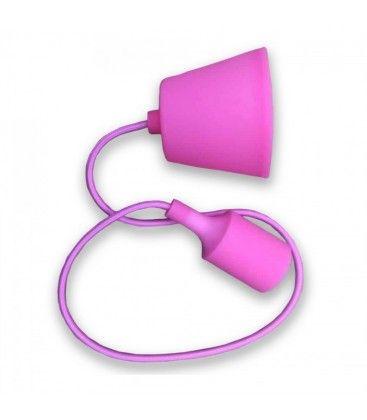 V-Tac silikone pendellampa med tygledning - Pink, E27
