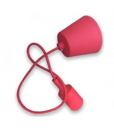 V-Tac silikone pendellampa med tygledning - Röd, E27