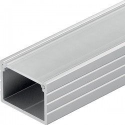 230V RGB Aluprofil Typ W till IP65 och IP68 LED strip - Bred, 1 meter, inkl. matteret cover och klips