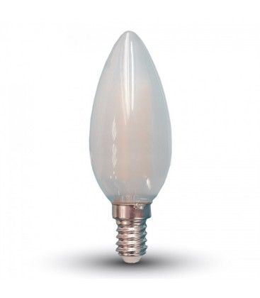 V-Tac 4W LED kronljus - Filament, mattteret glas, E14