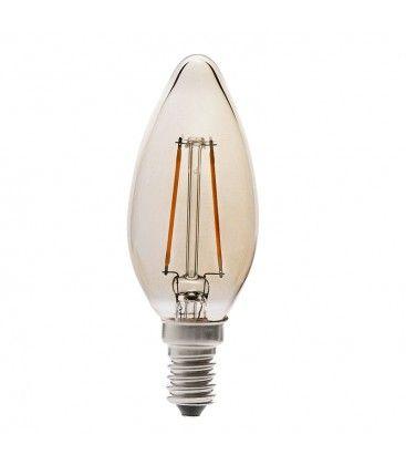 V-Tac 4W LED kronljus - Filament, amberfärgad, extra varm, E14