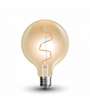 V-Tac 4W LED globlampa - Filament, Ø9,5 cm, extra varmvitt, 2200K, E27