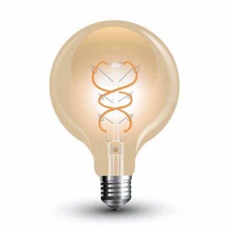 V-Tac 5W LED globlampa - Filament, Ø9,5 cm, extra varmvitt, E27