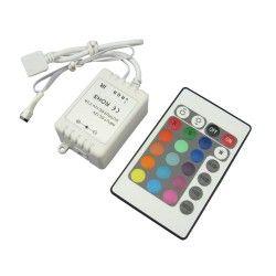 12V RGB RGB kontroller med fjärrkontroll - 12V (72W), 24V (144W), infraröd