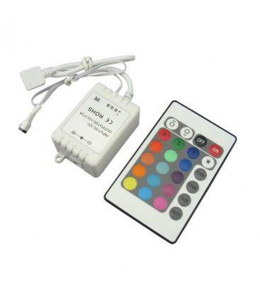 RGB kontroller med fjärrkontroll - 12V (72W), 24V (144W), infraröd