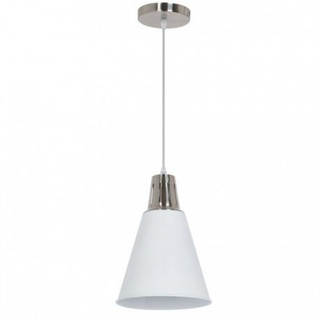 V-Tac modern pendellampa - Krom + vit sandblästrad, Ø22 cm, E27