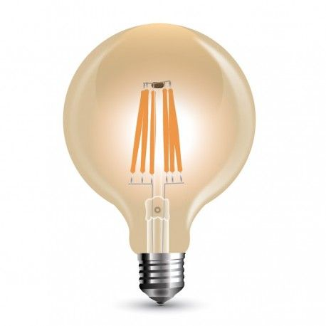 V-Tac 8W LED globlampa - Filament, Ø9,5 cm, dimbar, extra varmvitt, E27