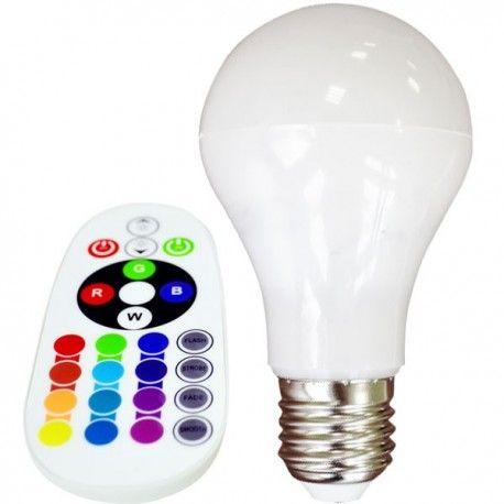 V-Tac 6W RGB LED lampa - Med RF fjärrkontroll, E27