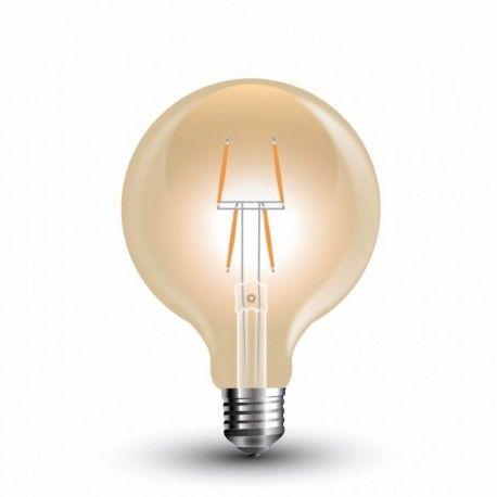 V-Tac 4W LED globlampa - Filament, Ø8 cm, extra varmvitt, E27