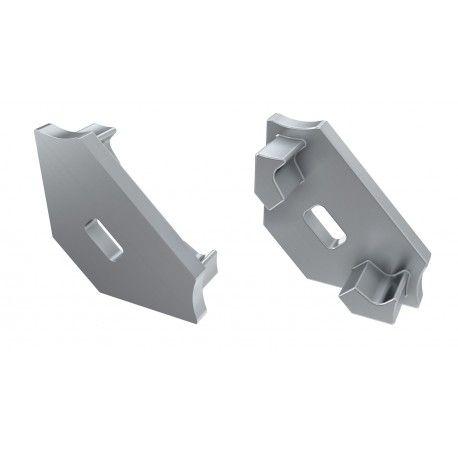 Ändstycken för aluprofil Type C - 2 st, grå