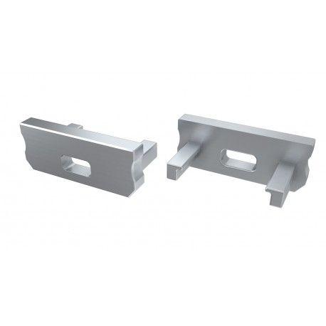 Ändstycken för aluprofil Type D - 2 st, grå