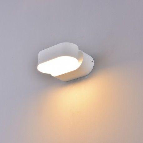 V-Tac 6W LED vit vägglampa - Oval, roterbar 350 grader, IP65 utomhusbruk, 230V, inkl. ljuskälla