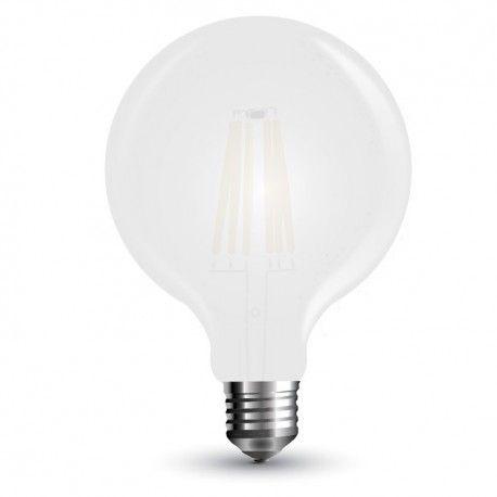 V-Tac 7W LED globlampa - Filament, matt glas, Ø9,5cm, E27