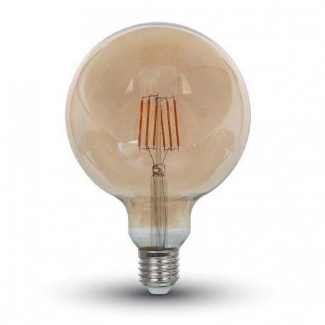 V-Tac 6W LED globlampa - Filament, Ø12,5 cm, extra varmvitt, 2200K, E27