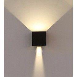 V-Tac 6W LED svart vägglampa - Kvadrat, justerbar spridning, IP65 utomhusbruk, 230V, inkl. ljuskälla
