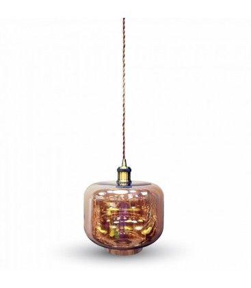 V-Tac pendellampa - Brunt glas, rund, E27