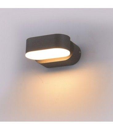 V-Tac 6W LED grå vägglampa - Oval, roterbar 350 grader, IP65 utomhusbruk, 230V, inkl. ljuskälla