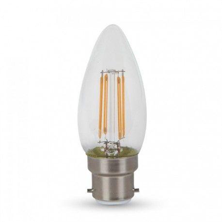 V-Tac 4W LED kronljus - Samsung LED chip, filament, B22