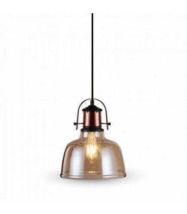 V-Tac glas pendellampa - Bärnstenfärgad, vintage stil, tygledning, E27