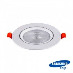 LED panel downlights V-Tac 10W LED spotlight - Hål: Ø8 cm, Mål: Ø9,5 cm, 3 cm hög, Samsung LED chip, 230V
