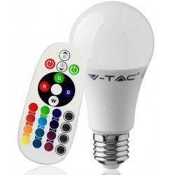 E27 LED V-Tac 9W RGB LED lampa - Med RF fjärrkontroll, E27
