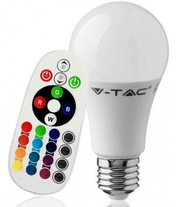 V-Tac 9W RGB LED lampa - Med RF fjärrkontroll, E27