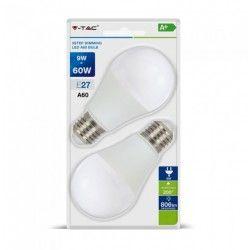LED Lampor V-Tac 9W LED lampa - 3-trin dimbar, A60, on/off dimbar, E27
