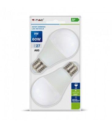 V-Tac 9W LED lampa - 3-trin dimbar, A60, on/off dimbar, E27