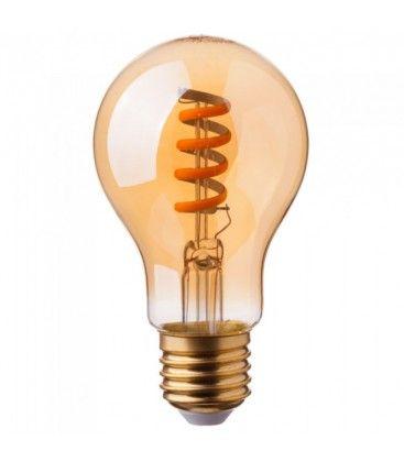 V-Tac 4W LED lampa - Spiral filament, amberfärgad, extra varmvitt, 2200K, A60, E27