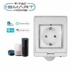 V-Tac Smart Home vattentät Wifi kontaktströmbrytare - Fungerar med Google Home, Alexa och smartphones, 230V