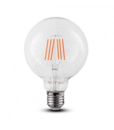 V-Tac 6W LED globlampa - Samsung LED chip, Filament, Ø12,5 cm, E27