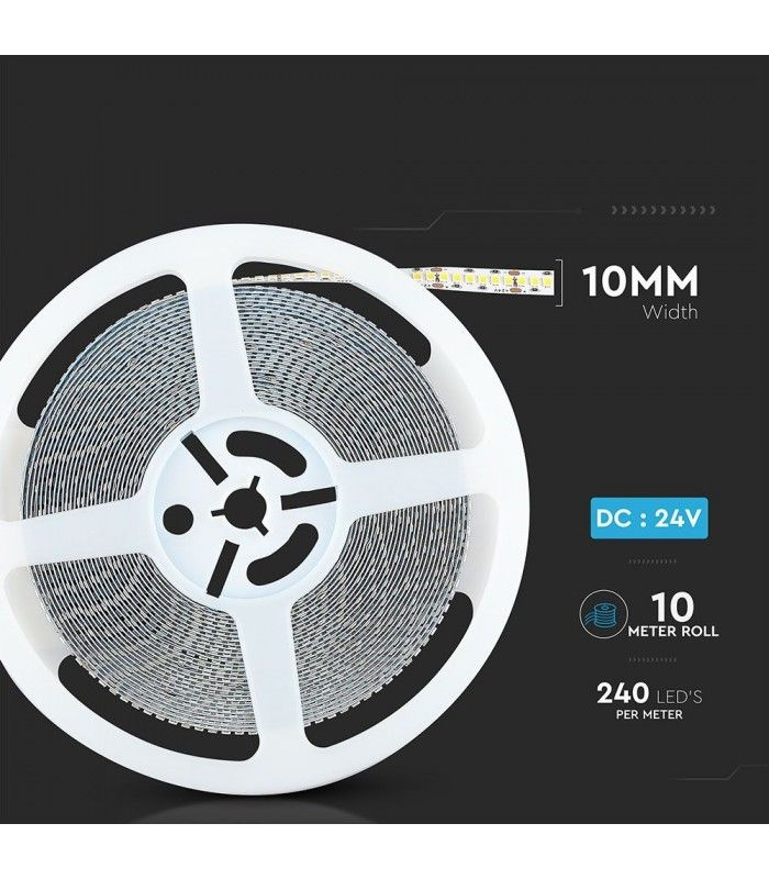 V Tac 15Wm LED strip Samsung LED chip, 10m, IP20, 24V