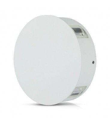 Lagertömning: V-Tac 4W LED vit vägglampa - Rund, IP65 utomhusbruk, 230V, inkl. ljuskälla